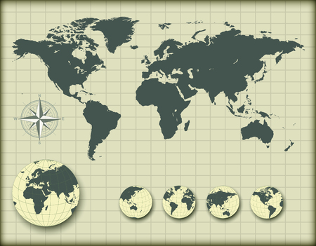 World map with earth globes, editable illustration. Stock Vector - 22765250