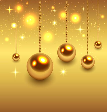 Christmas background gold, vector illustration Stock Vector - 23103216