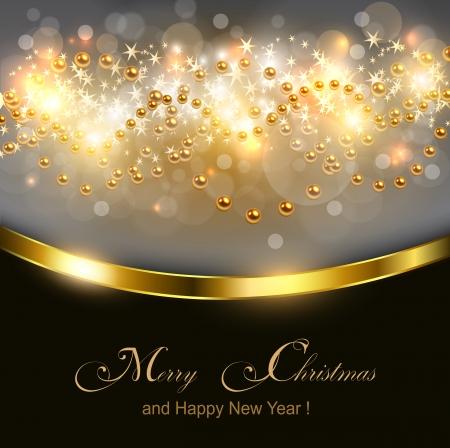 Christmas gold lights, vector illustration Stock Vector - 23312842