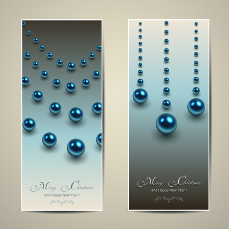 Elegant Christmas banners with blue balls, pearls, vector. Stock Vector - 23312867