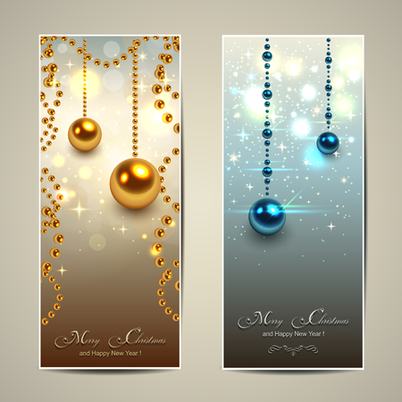 Elegant Christmas banners, vector illustration. Stock Vector - 23312868