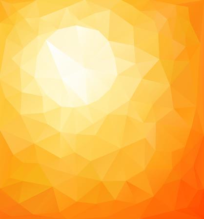 Abstract orange sunny background, vector triangle mosaic design  Çizim