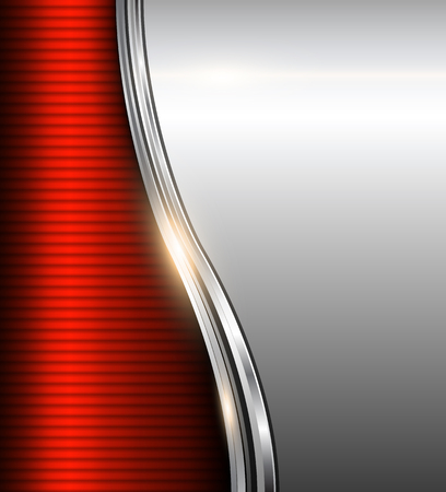 Abstract business background red and silver, vector illustration