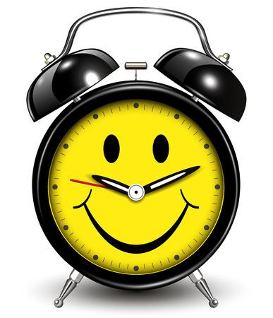 wake up happy: Alarm clock smile icon, vector illustration