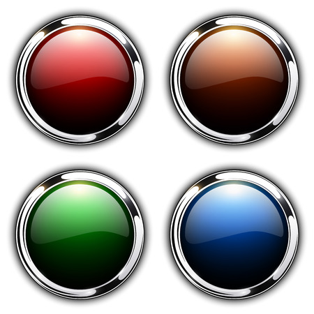 Shiny buttons with metallic elements, vector design  Çizim