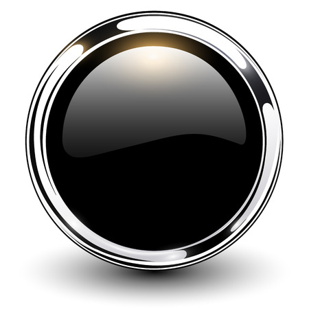 Black shiny button with metallic elements, vector design  Çizim