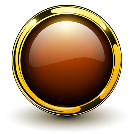 Gold button shiny metallic, vector illustration Vector
