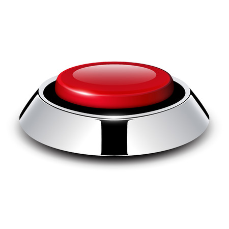 Red button with metallic Stock Vector - 25470018