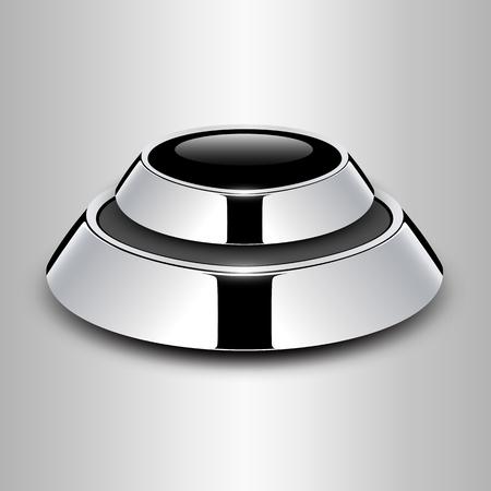 Button glossy chrome metallic Stock Vector - 25470027