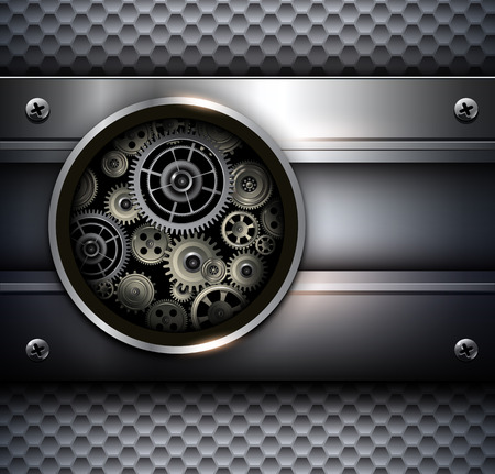 Background metallic with technology gears, vector illustration. Stock Vector - 25995064