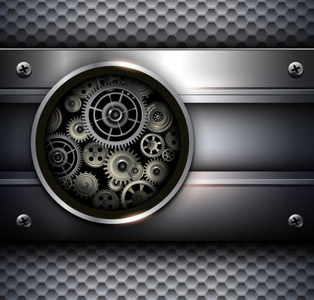rackwheel: Background metallic with technology gears, vector illustration. Illustration
