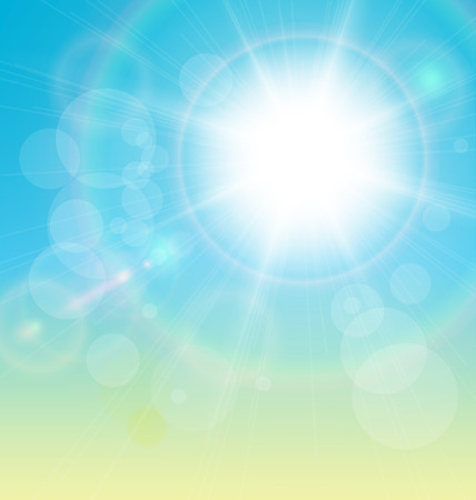 Vector sun and blue sky background. Stock Vector - 25995068