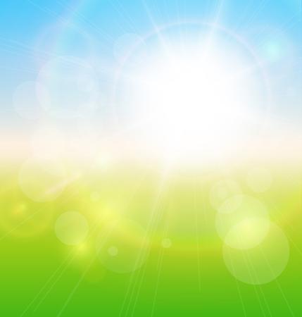 Green, sunny natural  background, spring vector illustration. Stock Vector - 25996655