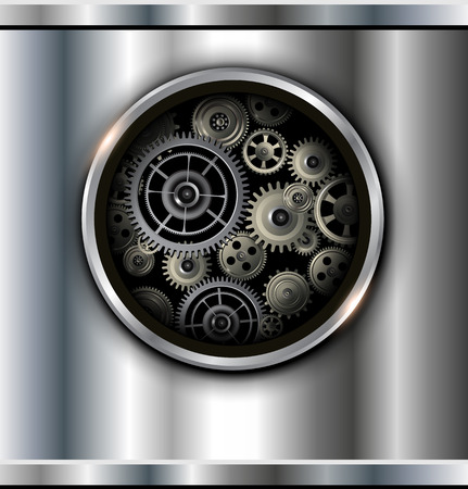 Background metallic with technology gears, vector. Stock Vector - 25996660