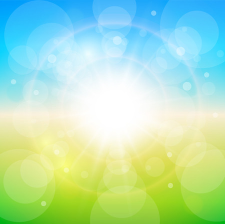 Spring sunny background, blue sky with glaring sun. Stock Vector - 25996668