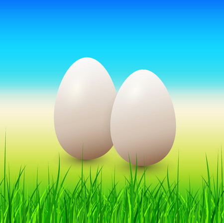Easter eggs and grass, spring vector background. Stock Vector - 25998669