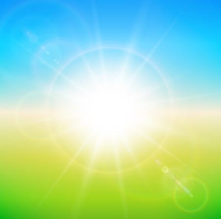 glaring: Spring sunny background, blue sky with glaring sun.
