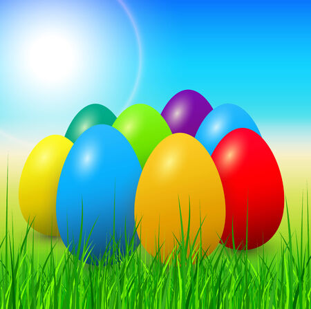 Easter eggs and grass, spring vector background.