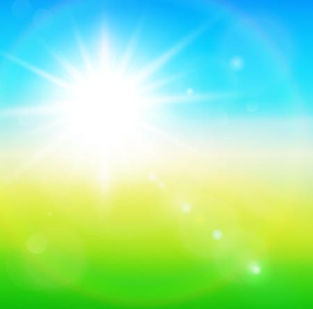 Green, sunny natural  background, vector illustration. Stock Vector - 25998683