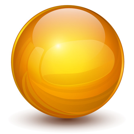 3D sphere, orange vector ball. Vector