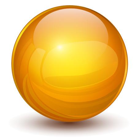 Sfera 3D, palla arancione vettoriale.