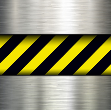 Metallic background with warning stripes, vector illustration. Vector
