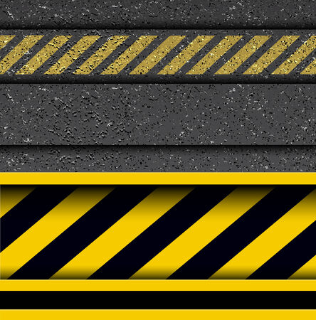 under construction road sign: Background with warning stripes on vector asphalt texture.