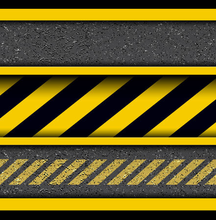 road surface: Background with warning stripes on vector asphalt texture.