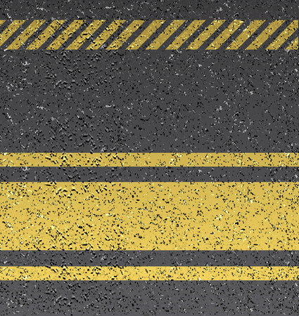 Background with warning stripes on vector asphalt texture. Vector