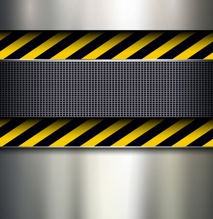 Background with warning stripes, metallic vector illustration.