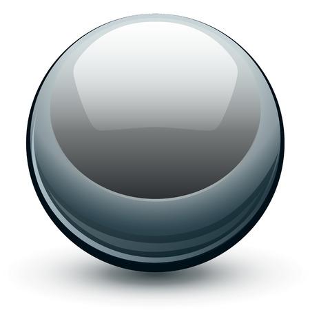 Vector metalen chroom bol, metaal glanzende bal. Stock Illustratie
