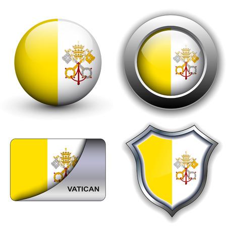 Vatican City flag icons theme.