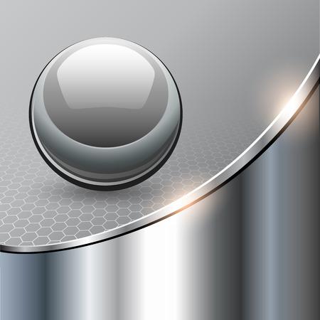 Metallic background with glass sphere, vector 3D illustration.. Çizim
