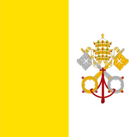 Vatican City flag, detailed vector illustration.