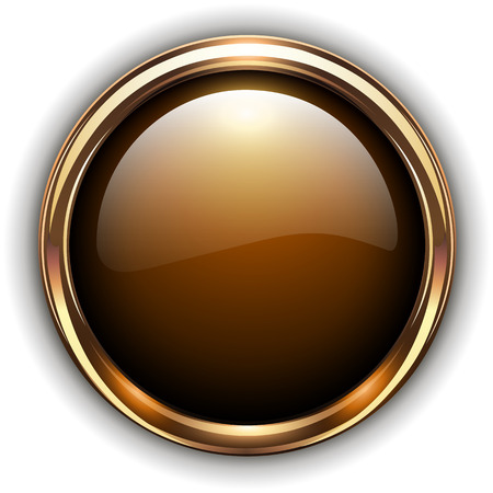 shiny buttons: Gold button elegant glossy metallic, vector illustration