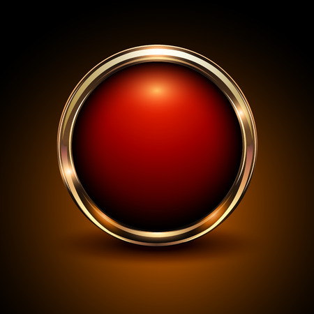 Shiny button red and gold glossy metallic, vector illustration