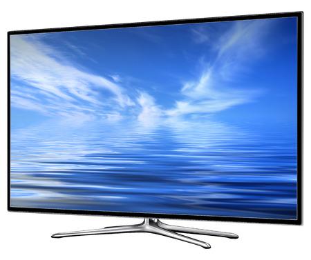 TV, moderne lcd, led, geïsoleerd met wolken op het scherm. Stockfoto