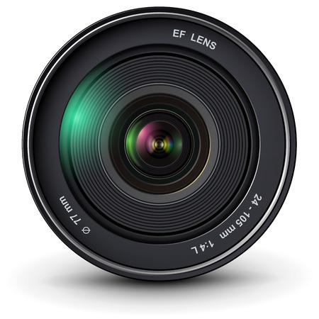 camera lens: camera photo lens, vector illustration.
