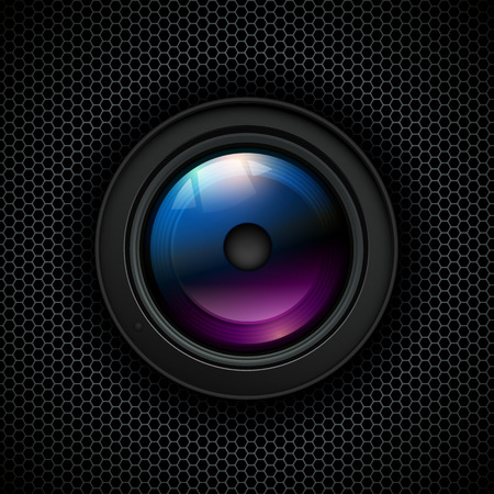 Background with photo lens icon on grill Vector