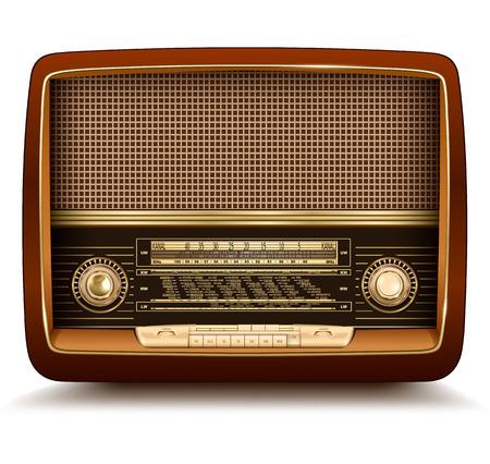 radio broadcasting: Radio retro, realistic illustration.