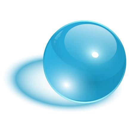 3d ball: 3D sphere, blue transparent vector ball. Illustration