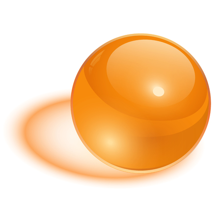 3D sphere, orange transparent vector ball. Vector