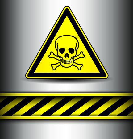 vector skull danger sign: Background with skull danger sign and warning stripes, vector illustration.
