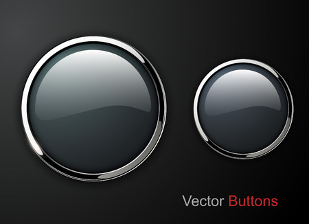 shiny buttons: Buttons shiny, chrome metallic, vector illustration Illustration