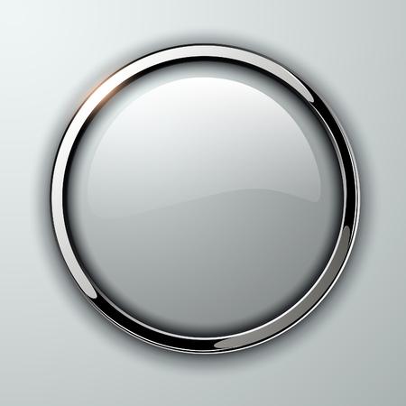 Botón brillante, transparente con elementos metálicos, ilustración vectorial.