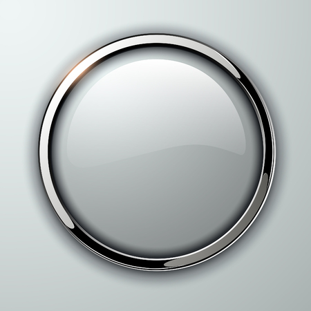 esfera: Botón brillante, transparente con elementos metálicos, ilustración vectorial.
