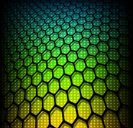 neon lights: Abstract background, 3D hexagons on rainbow dots, vector illustration.