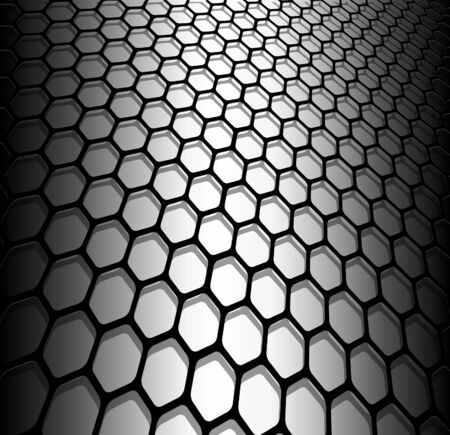 Abstract background, 3D hexagons black and white, vector illustration. Illustration