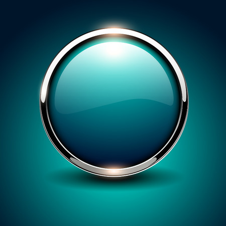 Shiny button blue glossy metallic, vector illustration Vector