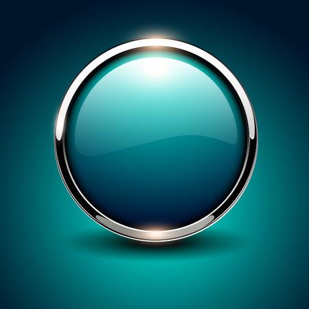 Shiny button blue glossy metallic, vector illustration Illustration